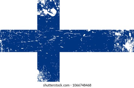 The Finnish flag. Grunge flag of Finland. Scratched flag. Creative vector design. EPS10 vector.