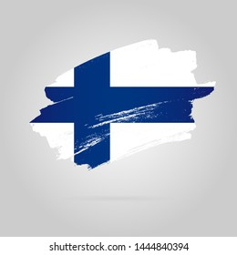 Finnish flag. Vector illustration on a gray background. Brush strokes drawn by hand.
