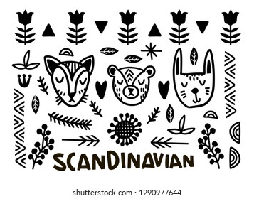 Finnish folk art - Scandinavian, Nordic style, black and white