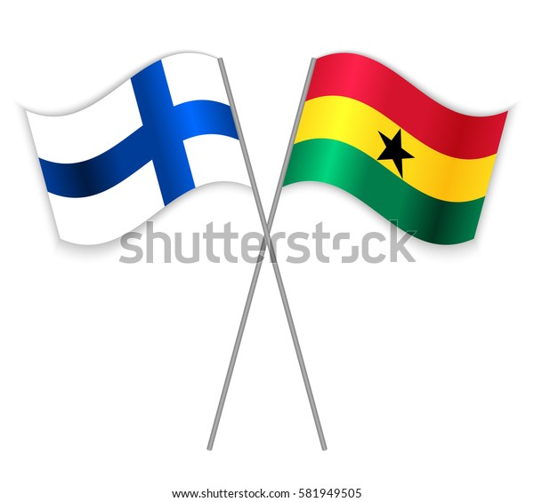 Finnish and Ghanaian crossed flags. Finland combined with Ghana isolated on white. Language learning, international business or travel concept.