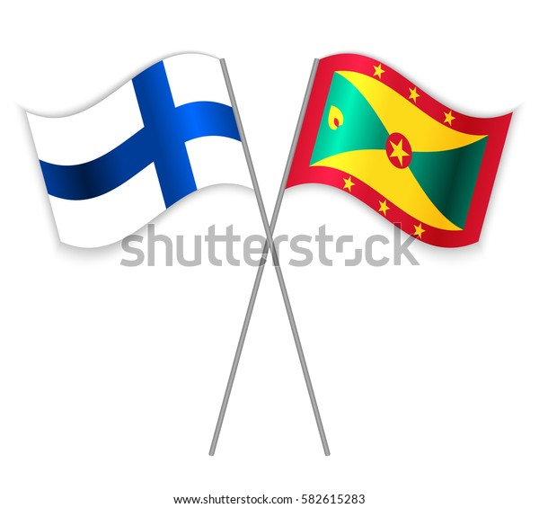 Finnish and Grenadian crossed flags. Finland combined with Grenada isolated on white. Language learning, international business or travel concept.