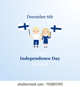 Finnish Independence Day greeting card. December 6th, Finland. Kids logo