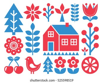 Finnish inspired folk art pattern - Scandinavian, Nordic style