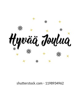 Finnish text: Merry Christmas. Lettering. vector illustration. element for flyers, banner and posters Modern calligraphy. Hyvää joulua
