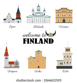 Finnish travel cartoon vector landmark, flat buildings, Lutheran Cathedral of Helsinki, Cathedral of Espoo, Vantaa City Museum, temple of Tampere, castles of Turku and Oulu, Finland, illustration