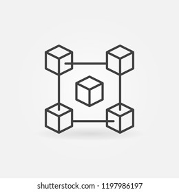 Fintech and blockchain vector modern icon or design element in thin line style