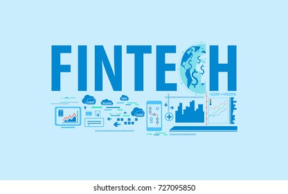 fintech business financial technology background with text and connected globe concept. vector illustration.