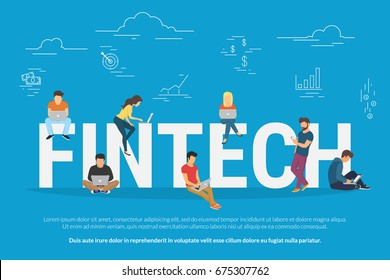 Fintech concept vector illustration of young people using laptop and smartphone for online funding and making investments for cryptocurrency blockchain technology. Flat design of new crypto currency