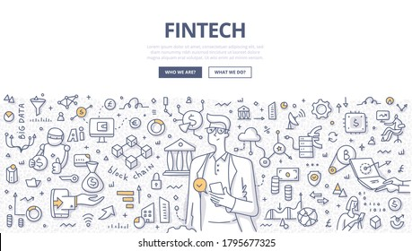 Fintech and finance management concept. A man makes payments with online mobile banking. Future of financial technologies. Doodle illustration of modern communication