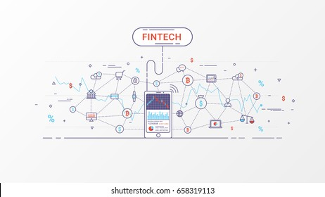 Fin-tech - Financial technology and Business investment. Financial exchange and Trading design concept. Investment finance info graphic. Vector illustration. Flat line design.