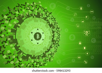 Fintech. Financial Technology concept. Futuristic technology graphic with bitcoin or digital money linking to gadgets icon and international currency coin floating on background.