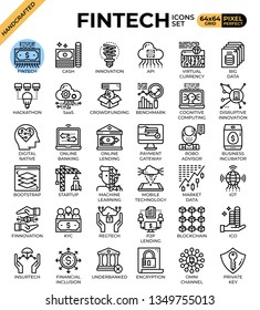 Fintech (Financial Technology) concept icons set in modern line icon style for ui, ux, web, mobile app design, etc.