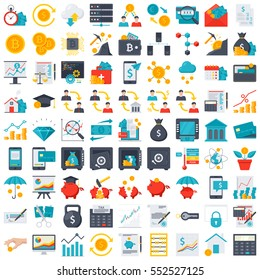 FinTech financial technology and finance icons in flat style