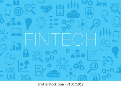 Fintech (financial technology) vector website banner or background with icons of business indicators, internet, blockchain, cryptocurrency
