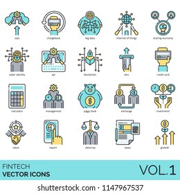 Fintech flat vector icons. SaaS, chargeback, big data, internet of things, sharing economy, cyber identity, api, blockchain, atm, credit card, calculator, management, piggy bank, investment, attorney.