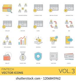 Fintech icons including cvv, crowdfunding, chinese yuan, japanese yen, dollar, bitcoin, euro, b2b, b2c, p2p lending, statistics, payment, mobile banking, wallet, money bag, secure, save box, check.