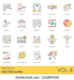Fintech icons including identity theft, stocks, interest rates, handshake, unicorn, gazelle, strategy, transfer, revenue, monitoring, money, abacus, billionaire, leasing, asymmetric keys, regtech.