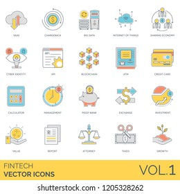 Fintech icons including SaaS, big data, internet of things, sharing economy, cyber identity, api, blockchain, atm, credit card, calculator, management, piggy bank, exchange, investment, attorney.