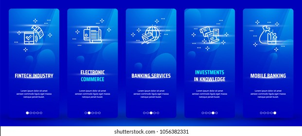 Fintech industry, Electronic commerce, Banking services, Investments in knowledge, Mobile banking Vertical Cards with strong metaphors. Template for website design.