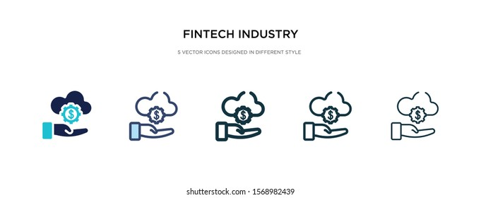 fintech industry icon in different style vector illustration. two colored and black fintech industry vector icons designed in filled, outline, line and stroke style can be used for web, mobile, ui