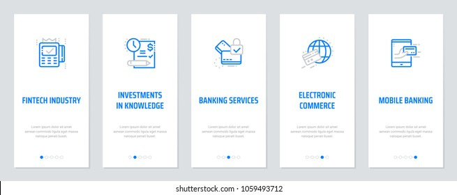 Fintech industry, Investments in knowledge, Banking services, Electronic commerce, Mobile banking Vertical Cards with strong metaphors. Template for website design.
