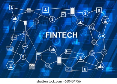 Fintech Internet Concept. text and Investment Financial Technology icons with blue digital background