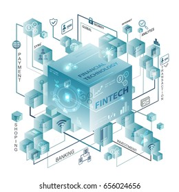 Fintech Investment Financial Internet Technology Concept. financial mind mapping info graphic.sci fi theme and lighting effect.
