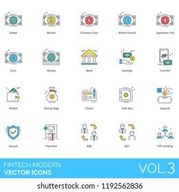 Fintech modern icon set. Dollar, bitcoin, chinese yuan, british pound, japanese yen, euro, bank, savings, transfer, wallet, money bag, check, safe box, deposit, secure, payment, b2b, b2c, p2p lending.