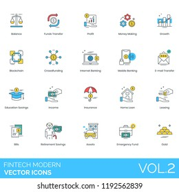 Fintech modern vector icons. Balance, funds transfer, profit, money, growth, blockchain, crowdfunding, mobile banking, education savings, income, insurance, home loan, leasing, retirement, asset, gold