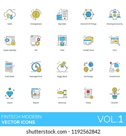 Fintech modern vector icons. SaaS, chargeback, big data, internet of things, sharing economy, cyber identity, api, atm, credit card, calculator, management, piggy bank, investment, attorney, taxes.