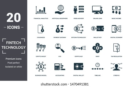 Fintech Technology icon set. Contain filled flat basic income, bitcoin technology, tax regulation, artificial noosphere, kyc, business model, accounting icons. Editable format.