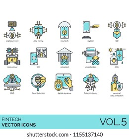 Fintech vector icon set. Cryptocurrency, mining, insurtech, regtech, robo advisor, unbanked, underbanked, fraud detection, digital signature, industry, personal data protection.