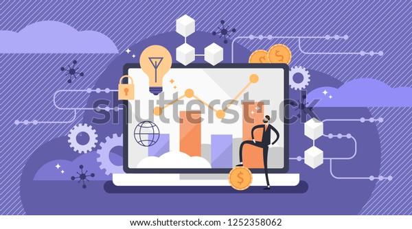 Fintech Vector Illustration Mini Person Concept Stock Vector