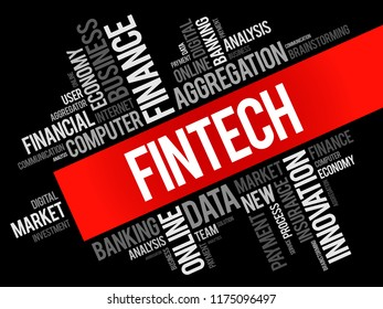 Fintech word cloud collage, business concept background