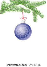 fir branch with a christmas ball and red ribbon isolated on white