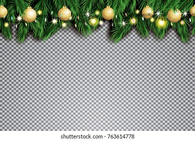Fir Branch with Neon Lights and Golden Christmas Balls on Transparent Background. Vector illustration.