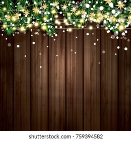 Fir Branch with Neon Lights and Snowflakes on Wooden Background. Merry Christmas and Happy New Year. Vector Illustration.