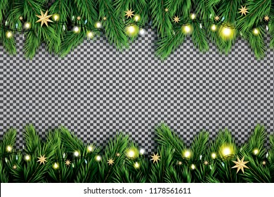 Fir Branch with Neon Lights and Stars on Transparent Background. Vector illustration.