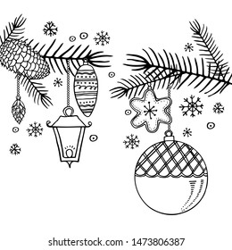 Fir branches with Christmas toys. Hand drawn outline vector sketch illustration of New Year decorations. Black on white background