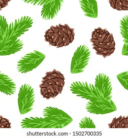 Fir branches and cones on a white background. Seamless pattern with green spruce needles. Vector illustration in cartoon simple flat style.