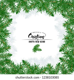 Fir branches. Template for greeting card for merry christmas and New Year, invitation or sale banner, gift voucher. Isolated on white background. Colored vector illustration.