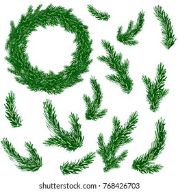 Fir brashes set and christmas wreath. Christmas tree. Vector illustration.
