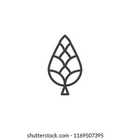 Fir cone outline icon. linear style sign for mobile concept and web design. Tree cone simple line vector icon. Symbol, logo illustration. Pixel perfect vector graphics