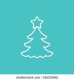 fir spruce pine tree wood christmas xmas symbol line icon white on blue background