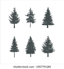 fir and spruce Tree silhouette black vector. Isolated set forest trees on white background.