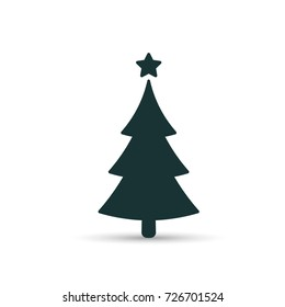 Fir tree black icon, flat design style. Spruce vector silhouette decaration.
