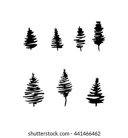 Fir tree black silhouettes, set isolated on white. Hand drawn ink style. Christmas tree