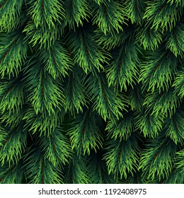 Fir tree branches pattern. Christmas background with green pine branching. Happy new year vector decor. Branch green fir background illustration