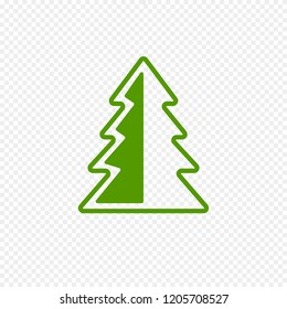 Fir Tree Icon Isolated on Transparent Background. Green Christmas Tree Icon for Web. Vector Sign.