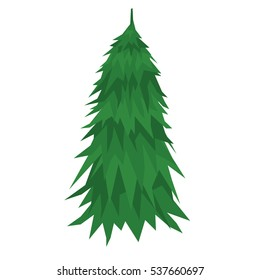 Fir tree illustration isolated on white background. Flat design style.
